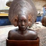Buste femme danseuse balinaise en bronze - esprit brocante hermin