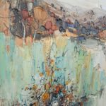 Huile sur toile 100x100cm Jean-Paul Surin 1990 - esprit brocante hermin