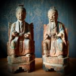 Statues bois polychrome taoïstes Dynastie Qing - esprit brocante hermin