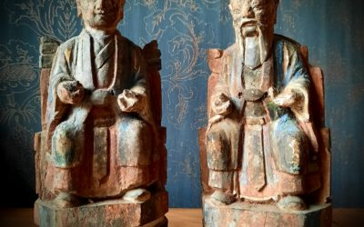 Statues Bois Taoïstes Dynastie Qing (1644-1912)